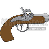 Cartoon of a Black Powder Pistol Gun - Royalty Free Vector Clipart © djart #1172038
