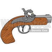 Cartoon of a Wooden Black Powder Pistol Gun - Royalty Free Clipart © djart #1172039
