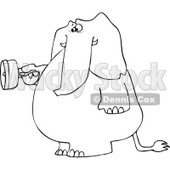 Cartoon of an Outlined Elephant Standing and Using a Flashlight - Royalty Free Vector Clipart © djart #1172260