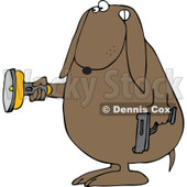 Cartoon of a Guard Dog Holding a Flashlight and Gun in the Dark - Royalty Free Clipart © djart #1172264