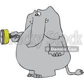Cartoon of an Elephant Standing and Using a Flashlight - Royalty Free Vector Clipart © djart #1172265