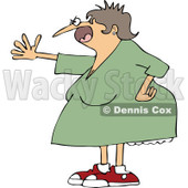 Cartoon of a Mad Woman Shouting and Holding out an Arm - Royalty Free Vector Clipart © djart #1172267