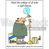 Cartoon of a Man Changing a Light Bulb with Check Wattage Text - Royalty Free Clipart © Dennis Cox #1172270
