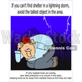 Cartoon of a Man Ducking in a Lightning Storm with Warning Text - Royalty Free Clipart © djart #1172274