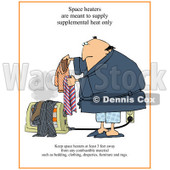 Cartoon of a Man Setting Clothes on a Floor Heater with Warning Text - Royalty Free Clipart © djart #1172278