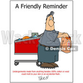 Cartoon of a Man Holding Underware with a Fabric Warning - Royalty Free Clipart © Dennis Cox #1172279