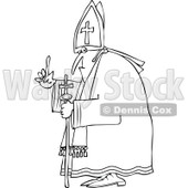 Cartoon of an Outlined Pope Holding up a Finger - Royalty Free Vector Clipart © djart #1173068