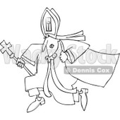 Cartoon of an Outlined Pope Running - Royalty Free Vector Clipart © Dennis Cox #1173069