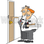 Cartoon of Nervous Missionaries Ringing a Door Bell - Royalty Free Vector Clipart © djart #1173070