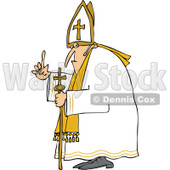Cartoon of a Pope Holding up a Finger - Royalty Free Vector Clipart © Dennis Cox #1173071