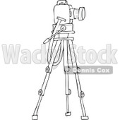 Cartoon of an Outlined Camera on a Tripod Stand - Royalty Free Vector Clipart © djart #1173243