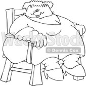Cartoon of an Outlined Circus Freak Fat Lady Sitting in a Chair - Royalty Free Vector Clipart © Dennis Cox #1173247