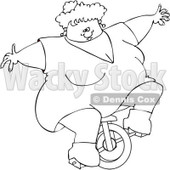 Cartoon of an Outlined Circus Freak Fat Lady Riding a Unicycle - Royalty Free Vector Clipart © djart #1176086