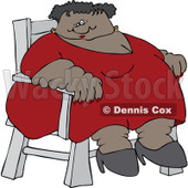 Cartoon of a Circus Freak Black Fat Lady Sitting in a Chair - Royalty Free Vector Clipart © djart #1176089