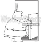 Cartoon of an Outlined Fat Pig Staring into a Fridge - Royalty Free Vector Clipart © djart #1177323