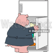 Cartoon of a Fat Pig Staring into a Fridge - Royalty Free Vector Clipart © djart #1177324