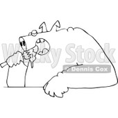 Cartoon of an Outlined Fat Pig Shoving Food into His Mouth - Royalty Free Vector Clipart © Dennis Cox #1177325