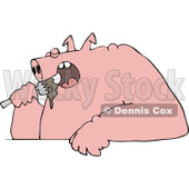 Cartoon of a Fat Pig Shoving Food into His Mouth - Royalty Free Vector Clipart © Dennis Cox #1177326