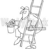 Cartoon of an Outlined Happy Painter Worker Carrying a Ladder and Bucket - Royalty Free Vector Clipart © djart #1177329