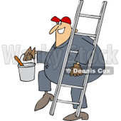 Cartoon of a Happy Painter Worker Carrying a Ladder and Bucket - Royalty Free Vector Clipart © djart #1177330