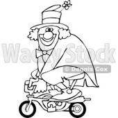 Cartoon of an Outlined Circus Clown Riding a Mini Bike - Royalty Free Vector Clipart © djart #1177331