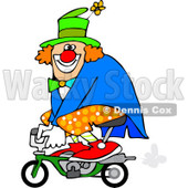 Cartoon of a Circus Clown Riding a Mini Bike - Royalty Free Vector Clipart © djart #1177332