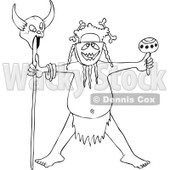 Cartoon of an Outlined Tribal Head Hunter Man Holding a Maraca and a Skull on a Stick - Royalty Free Vector Clipart © Dennis Cox #1177987