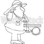 Cartoon of an Outlined Safari Man Holding a Magnifying Glass - Royalty Free Vector Clipart © Dennis Cox #1177990