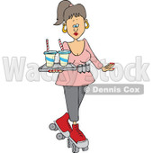 Cartoon of a Roller Skating Carhop Waitress with Drinks on a Tray - Royalty Free Vector Clipart © Dennis Cox #1177995