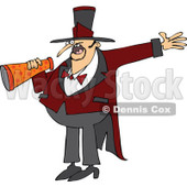 Cartoon of a Circus Ringmaster Man Making an Announcement with a Megaphone - Royalty Free Vector Clipart © djart #1179790