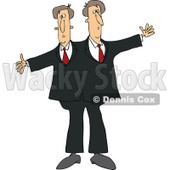 Cartoon of Circus Freak Siamese Twin Men - Royalty Free Vector Clipart © Dennis Cox #1179793