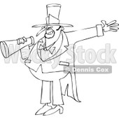 Cartoon of an Outlined Circus Ringmaster Man Making an Announcement with a Megaphone - Royalty Free Vector Clipart © djart #1179794
