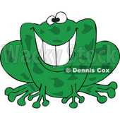Cartoon of a Grinning Green Frog - Royalty Free Vector Clipart © Dennis Cox #1181990