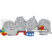 Cartoon of Four Circus Elephants with Balls and Stands - Royalty Free Vector Clipart © Dennis Cox #1181992