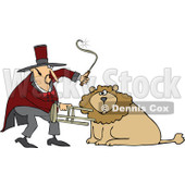Cartoon of a Circus Lion Tamer Holding a Stool and Whip - Royalty Free Vector Clipart © Dennis Cox #1181993