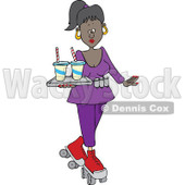 Cartoon of a Pretty Black Roller Skating Carhop Waitress with Drinks on a Tray - Royalty Free Vector Clipart © djart #1182612