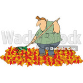 Cartoon of a Chubby Caucasian Man Raking Autumn Leaves - Royalty Free Vector Clipart © djart #1182613