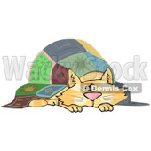 Cartoon of a Chubby Ginger Cat Napping Under a Quilt - Royalty Free Clipart © djart #1182689