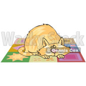 Cartoon of a Chubby Ginger Cat Napping on a Quilt - Royalty Free Clipart © djart #1182690