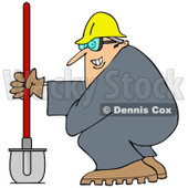 Cartoon of a Grinning Chubby Worker Man with a Helmet Goggles and Shovel - Royalty Free Vector Clipart © Dennis Cox #1184107