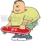Cartoon of a Chubby Caucasian Boy Holding a Skateboard - Royalty Free Vector Clipart © djart #1184108