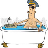 Cartoon of a Man Playing Sea Captain with a Boat in a Bath Tub - Royalty Free Vector Clipart © djart #1184717
