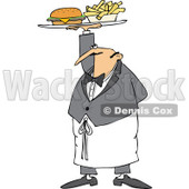 Cartoon of a Male Waiter Serving a Gourmet Cheeseburger and Fries - Royalty Free Vector Clipart © Dennis Cox #1184722