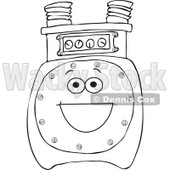 Cartoon of an Outlined Gas Meter Mascot - Royalty Free Vector Clipart © djart #1184724