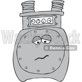 Cartoon of a Sad Gas Meter Mascot - Royalty Free Vector Clipart © djart #1184725