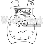 Cartoon of an Outlined Sad Gas Meter Mascot - Royalty Free Vector Clipart © djart #1184726