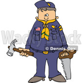 Cartoon of a Scout Boy Holding Tools - Royalty Free Vector Clipart © djart #1186281