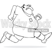 Cartoon of an Outlined Chubby Man Sprinting Away from Something - Royalty Free Vector Clipart © djart #1186282