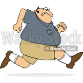 Cartoon of a Chubby Man Sprinting Away from Something - Royalty Free Vector Clipart © djart #1186283
