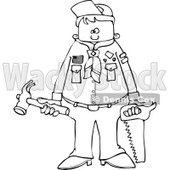 Cartoon of an Outlined Scout Boy Holding Tools - Royalty Free Vector Clipart © Dennis Cox #1186284